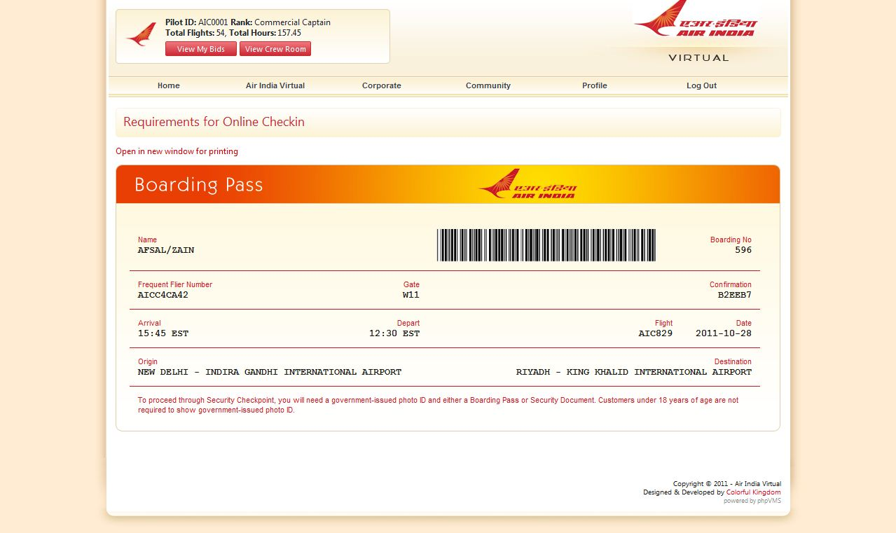 The New Boarding Pass At Air India Virtual Virtual Airlines